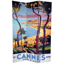 "70.88"" x 48"" Double Sided Cannes and Versailles 3 Panel Room Divider"