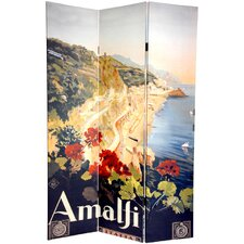 "<strong>Oriental Furniture</strong> 72"" x 48"" Double Sided Amalfi and Riviera 3 Panel Room Divider"