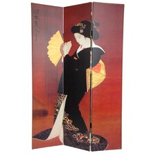 6Feet Tall Double Sided Japanese Ladies Canvas Room Divider