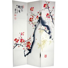 "<strong>Oriental Furniture</strong> 72"" x 48"" Double Sided Cherry Blossoms and Love 3 Panel Room Divider"