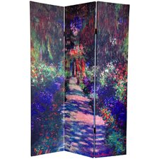 6 Feet Tall Double Sided Works of Monet Canvas Room Divider with Three Panels