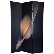 "<strong>Oriental Furniture</strong> 72"" x 48"" Double Sided Moon / Saturn 3 Panel Room Divider"