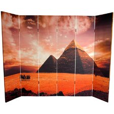 "70.88"" x 94.5"" Double Sided Egyptian Pyramid 6 Panel Room Divider"