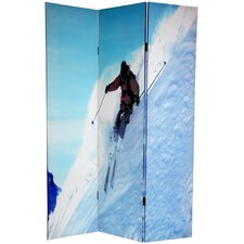 6 Feet Tall Double Sided Skiing Canvas Room Divider