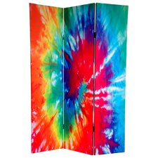 6 Feet Tall Double Sided Tie Dye Canvas Room Divider