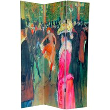 "<strong>Oriental Furniture</strong> 70.88"" x 47.25"" Works of Toulouse-Lautrec 3 Panel Room Divider"