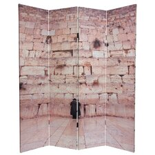 "70.88"" x 63"" Wailing Wall 4 Panel Room Divider"