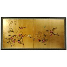 "18"" x 36"" Gold Leaf Blossom 4 Panel Room Divider"