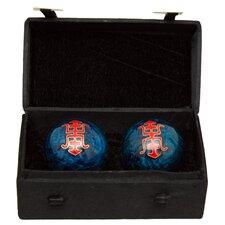 2 Piece Shou Cloisonne Health Decorative Ball set