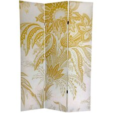 "71"" x 47.63"" Birds and Flowers French Toilel 3 Panel Room Divider"