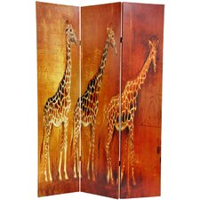 "71"" x 47.63"" Giraffe and Elephant 3 Panel Room Divider"