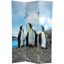 "<strong>Oriental Furniture</strong> 71"" x 47.63"" Penguin 3 Panel Room Divider"