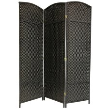 "71"" x 48"" Tall Diamond Weave Fiber 3 Panel Room Divider"