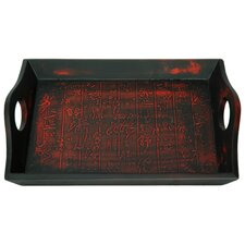 <strong>Oriental Furniture</strong> Calligraphy Tray Black and Red Matte Lacquer