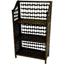 "33"" Natural Fiber Shelving Unit in Black"