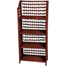 "43"" Natural Fiber Shelving Unit in Mahogany"
