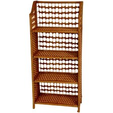 "43"" Natural Fiber Shelving Unit in Honey"