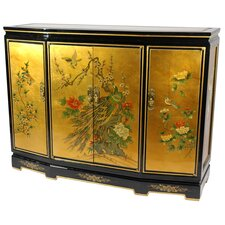 <strong>Oriental Furniture</strong> Gold Leaf Slant Front Cabinet