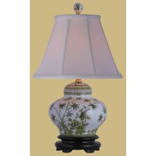"""Porcelain Palm Tree Jar 15"""" H Table Lamp with Empire Shade"""