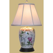 "Porcelain Lily 25"" H Table Lamp with Empire Shade"