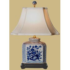<strong>Oriental Furniture</strong> Porcelain Flat Jar Table Lamp