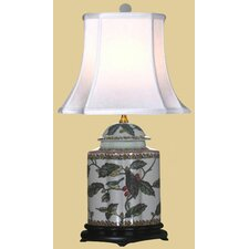 <strong>Oriental Furniture</strong> Porcelain Scallops Tea Jar Table Lamp