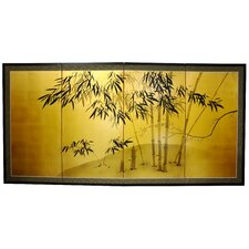 "18"" x 36"" Gold Leaf Bamboo 4 Panel Room Divider"