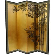 "69.5"" x 67"" Gold Leaf Bamboo 4 Panel Room Divider"