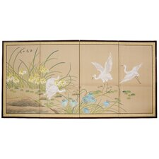 <strong>Oriental Furniture</strong> Birds on The Pond 4 Panel Room Divider