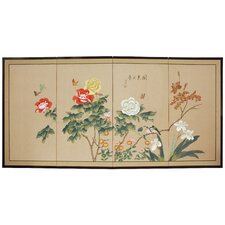 "<strong>Oriental Furniture</strong> 36"" x 72"" Butterflies in The Garden 4 Panel Room Divider"
