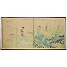 "36"" x 72"" Ladies in The Garden 4 Panel Room Divider"