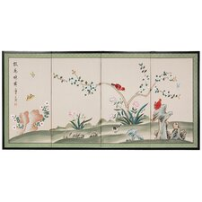 "36"" x 72"" Birds and Flowers Courting 4 Panel Room Divider"