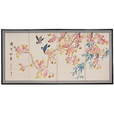 "<strong>Oriental Furniture</strong> 36"" x 72"" Shing Huo Blossom 4 Panel Room Divider"