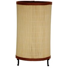 """Shika Japanese Round Rattan 11.5"""" H Table Lamp with Drum Shade"""