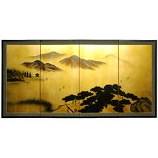 "36"" Mountain on Gold Leaf Silk Screen with Bracket"