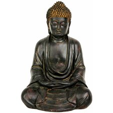 "9"" Japanese Sitting Buddha Statue in Faux Bronze Antique Patina"