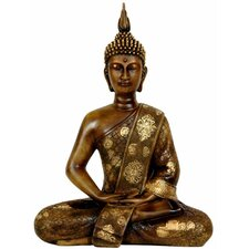 "11"" Thai Sitting Buddha Statue in Faux Wood Grain"