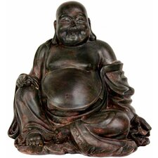 "11"" Sitting Lucky Buddha Statue in Dark Faux Bronze"