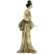 <strong>Oriental Furniture</strong> Geisha With Nature Symbols Kimono Figurine