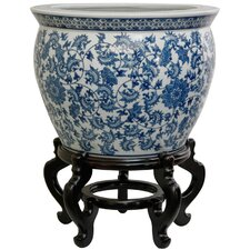 "20"" Porcelain Floral Fishbowl in Ming Blue and White"
