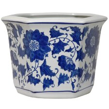 Round Flower Pot Planter with Blue Floral Design
