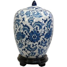 Floral Design Decorative Jar