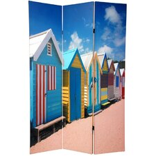 "70.88"" x 47"" Double Sided Beach Cabana 3 Panel Room Divider"