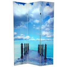 "<strong>Oriental Furniture</strong> 70.88"" x 47"" Double Sided Ocean 3 Panel Room Divider"