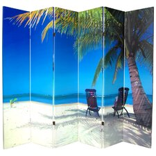 "70.88"" x 94"" Double Sided Ocean 6 Panel Room Divider"
