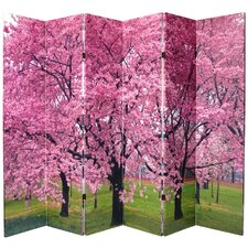 """70.88"""" x 94.5"""" Double Sided Cherry Blossom 6 Panel Room Divider"""