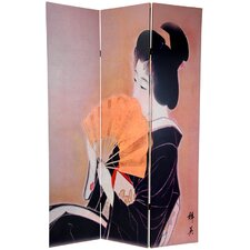 "70.88"" x 47"" Double Sided Geisha 3 Panel Room Divider"