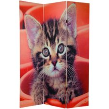 "70.88"" x 47"" Double Sided Kittens 3 Panel Room Divider"