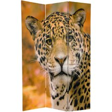 "70.88"" x 47"" Double Sided Leopard 3 Panel Room Divider"