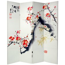 "70.88"" x 63"" Double Sided Cherry Blossoms and Love 4 Panel Room Divider"